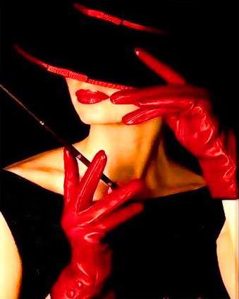 Картина по номерам Девушка в красных перчатках и черной ...